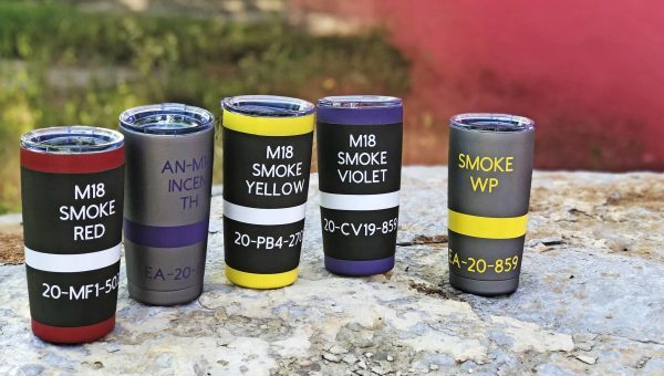 "The best insulated tumbler you can buy? Maybe...they're ""smoke grenade"" and ""thermite grenade"" Cerakote travel mug by Badmoon Armory."